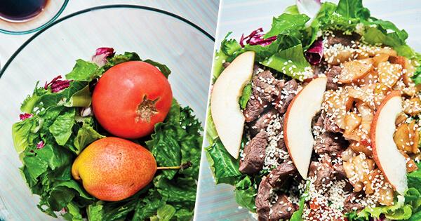 Быстрый тёплый салат из говядины и груши