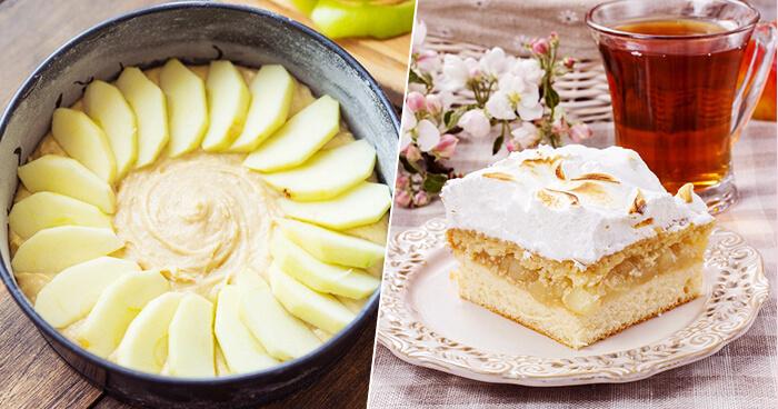 Идеальный пирог с яблочками и нежным сметанным кремом!