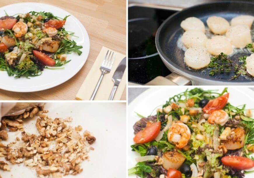 Итальянская кухня: салат с помидорами банч и морепродуктами
