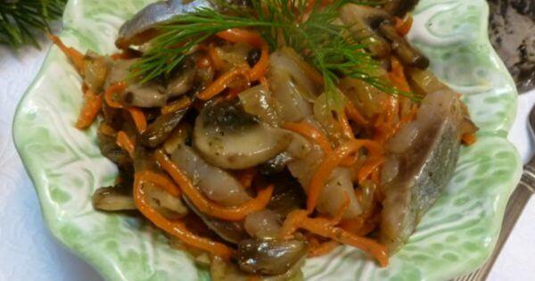 Холодный литовский салат с сельдью
