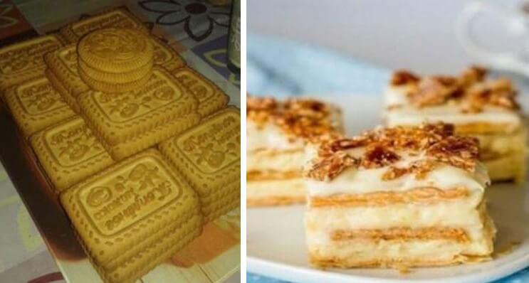 Вкус из детства: нежный десерт из печенья и творожного крема
