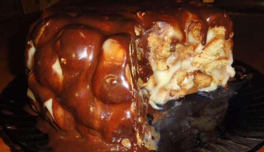 Медовый торт «Золотые шарики» с заварным кремом