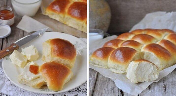 Необычные и очень пышные булочки на дрожжах и молоке