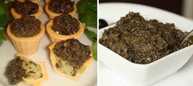 Необычные тарталетки с густым соусом из оливок и нежным кремом из авокадо