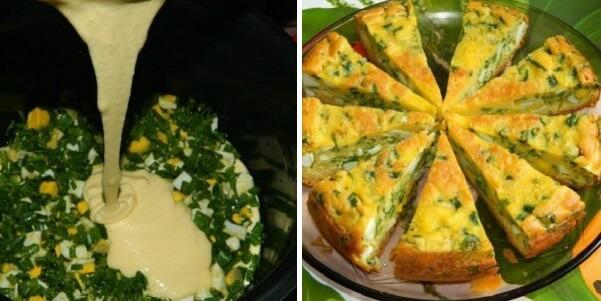 Очень вкусный заливной пирог с зеленым луком и яйцами