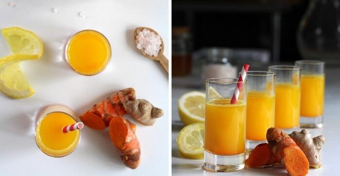 Очищающий напиток с куркумой и имбирем