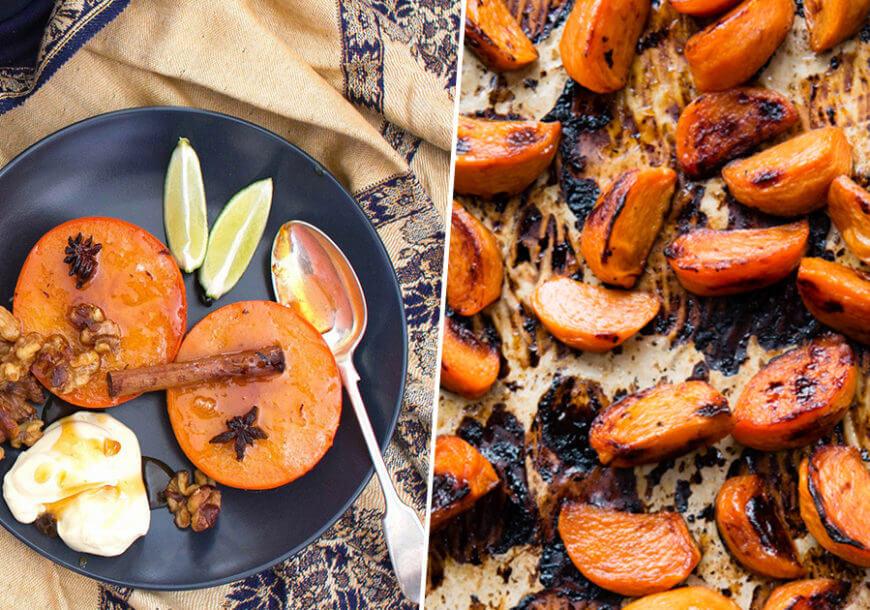Полезный десерт: хурма запеченная с имбирем и специями