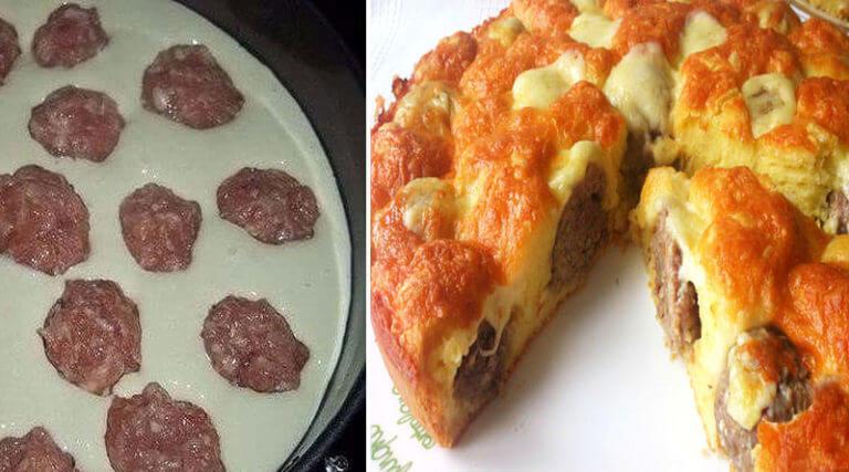 Потрясающий пирог с фрикадельками под сырной корочкой