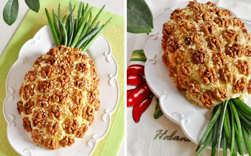 Праздничный и нарядный салат «Ананас» с курицей
