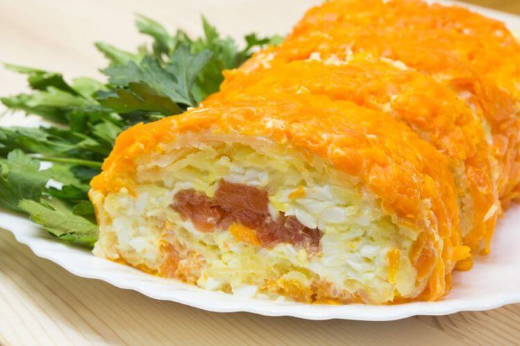 Праздничный закусочный салат «Царский Рулет»
