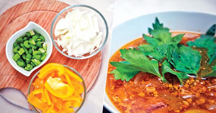 Пряный и наваристый суп из тунца с овощами и грецкими орехами