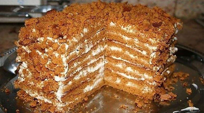 Простой и быстрый медовый торт, для тех, кто не любит раскатывать тесто!