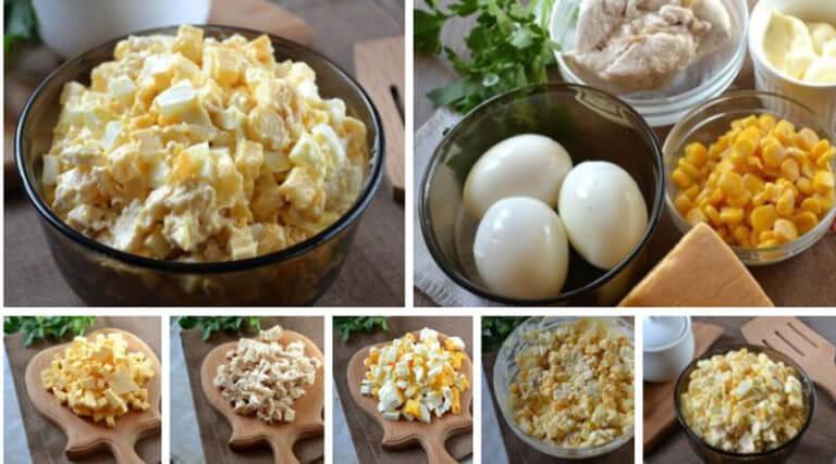 Простой салат с куриной грудкой, сыром и кукурузой