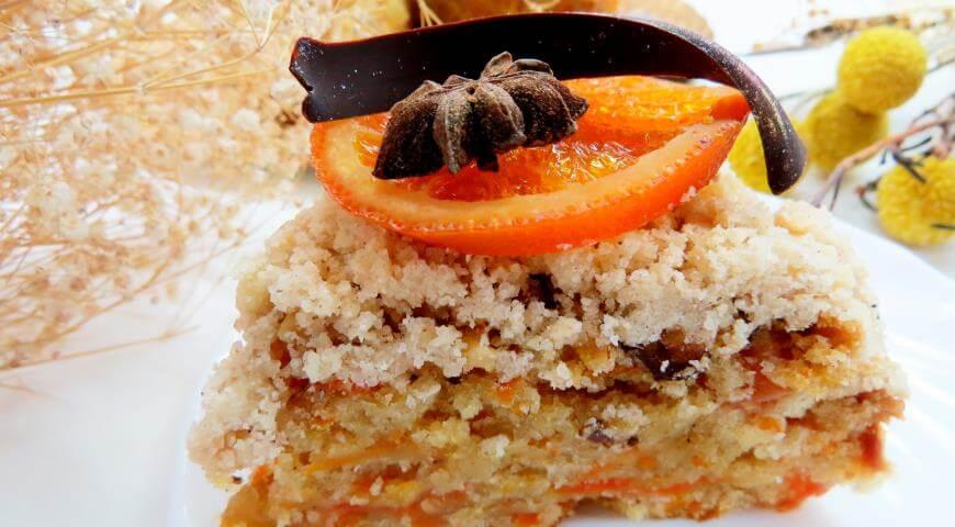 Рецепт постного морковного пирога со сладкой кондитерской крошкой – штройзелем