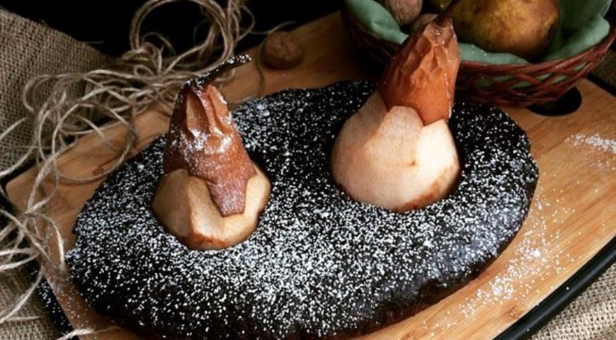 Рецепт постного пирога с грушами, корицей и орехами