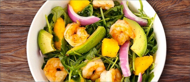 Рецепт салата из авокадо и креветок