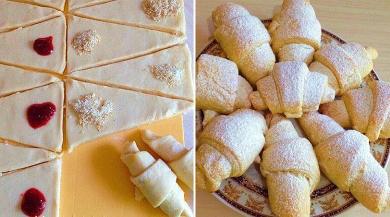 Рецепт вкусных рассыпчатых рогаликов с ягодной и шоколадной начинкой