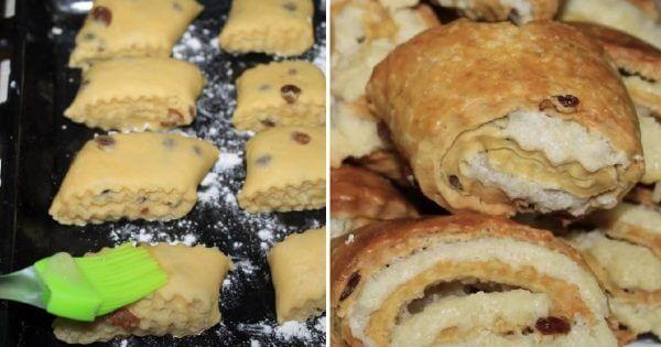 Ванильное песочное печенье с ореховой начинкой
