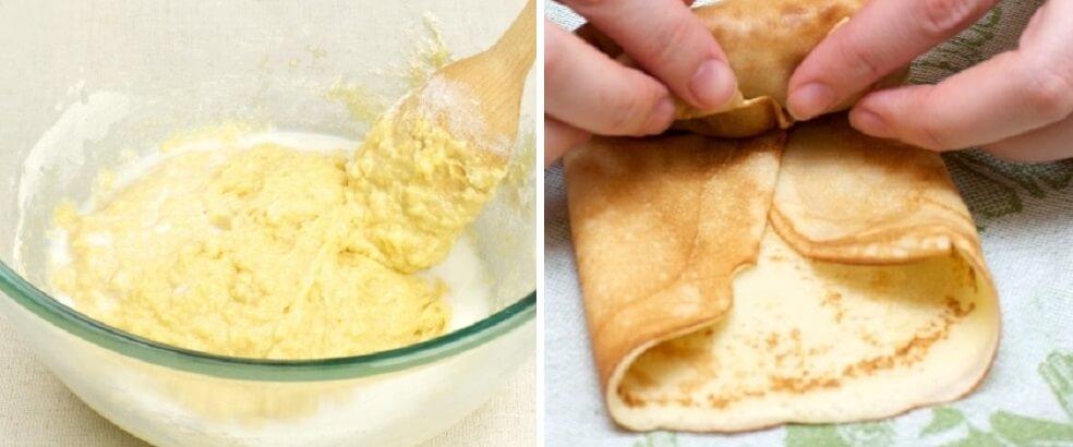 Вкуснейшие сытные блины с необычной начинкой… Рецепт от любимой бабушки!