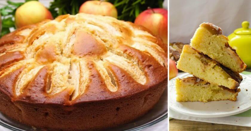 Быстрый яблочный пирог на кефире пошаговый рецепт с фото