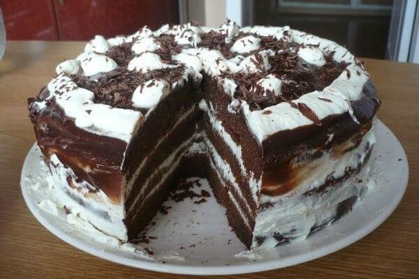 Домашний шоколадно-творожный торт