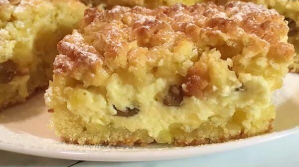 Песочный пирог с творогом пошаговый рецепт с фото