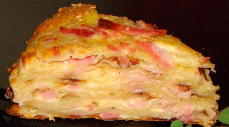 Рецепт изумительного сырного пирога с ветчиной