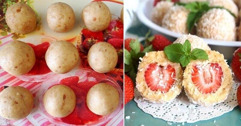 Рецепт приготовления клубничных пирожных без выпечки