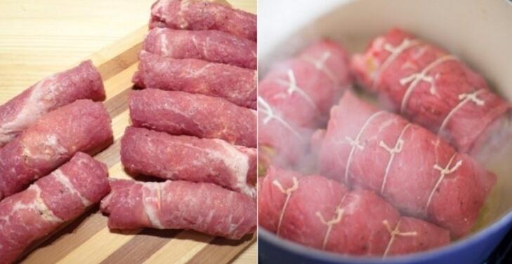 Рулетики из свинины с маринованными огурцами и сыром