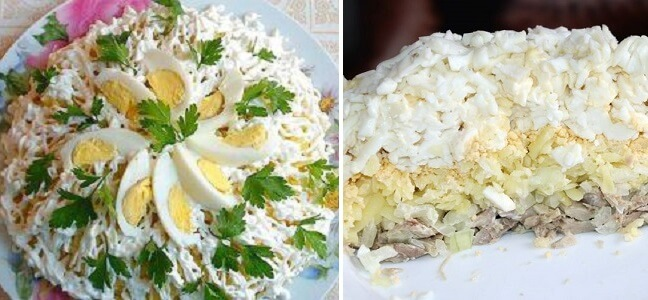 Салат «Невеста» с копченой курицей и плавленным сыром
