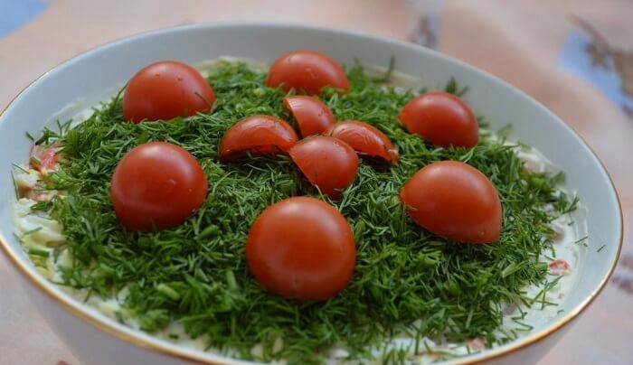 Самый вкусный салат с шампиньонами и крабовыми палочками