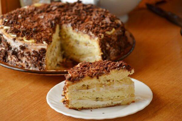 Торт «Любимый» с творогом и бананом