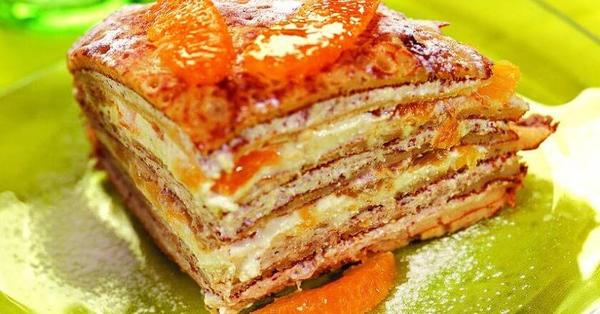 Блинный торт с апельсинами в домашних условиях.