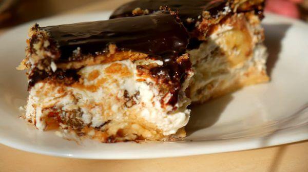 Творожный торт без выпечки быстрого приготовления