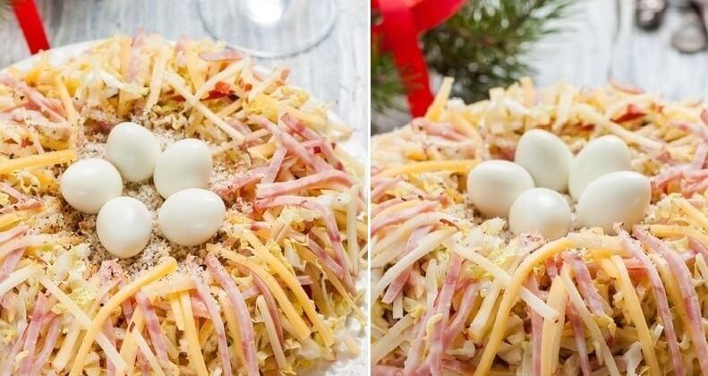 Праздничный салат «Птичье гнёздышко» пошаговый рецепт