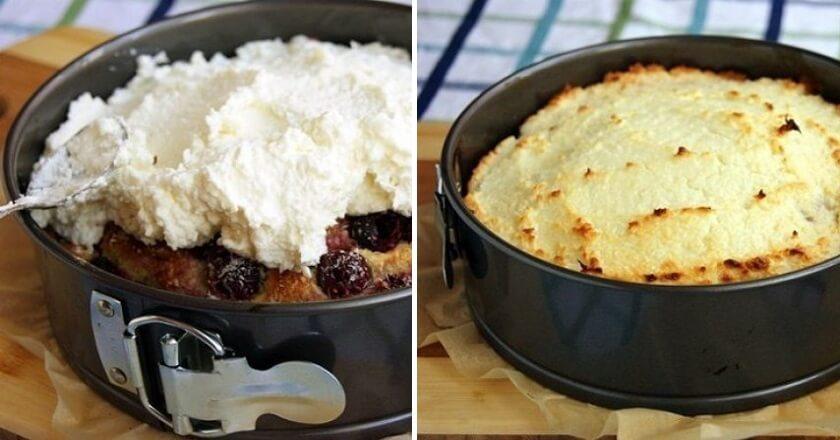 Вишневый пирог с кокосом пошаговый рецепт