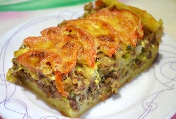 Вкуснейший мясной пирог  из картофельного  теста