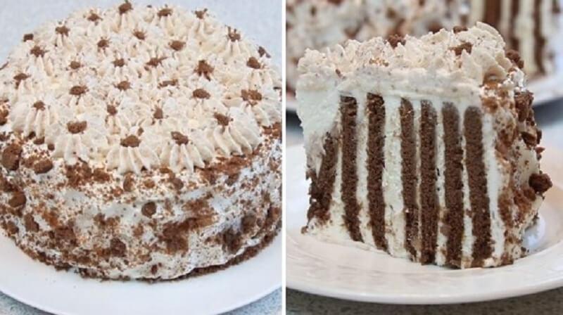 Вкуснейший шоколадный торт без выпечки за несколько минут!