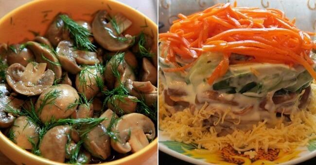 Вкусные салаты с шампиньонами: рецепты с фото и видео