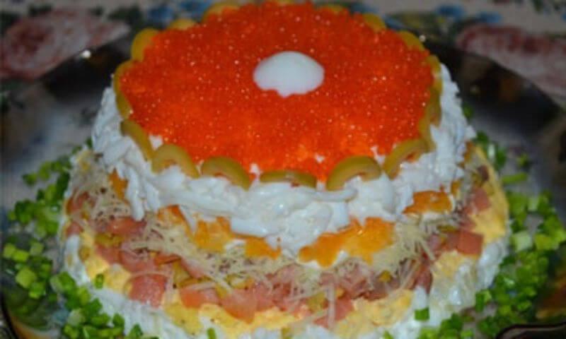 Вкусный салат «Морская жемчужина»
