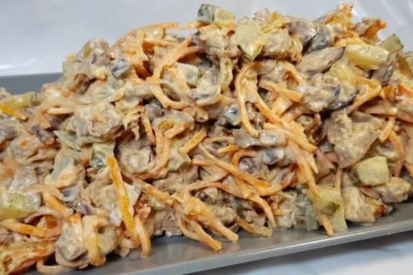 Салат из куриной печени и морковки по-корейски