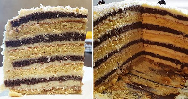 Бисквитный торт «Пизанская башня» с заварным кремом