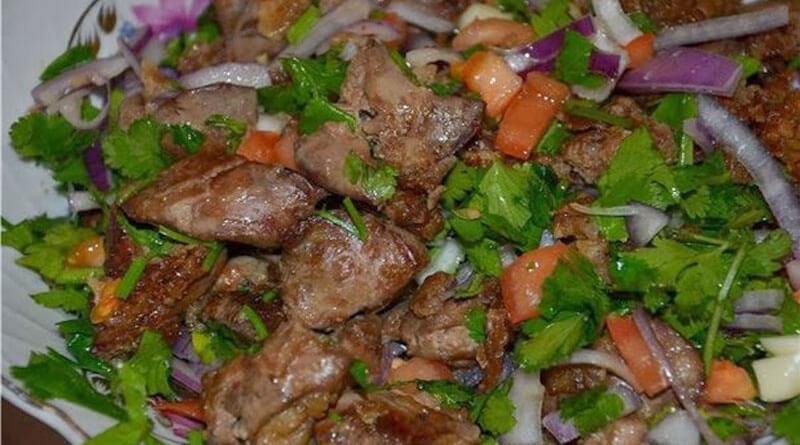 Куриная печень с насыщенным вкусом, по-грузински