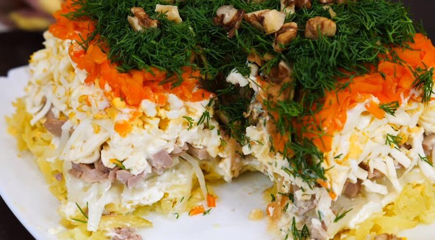 Очень вкусный и нежный слоеный салат «Старая гавань»
