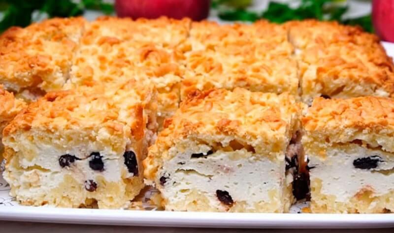 Очень вкусный тёртый творожный пирог