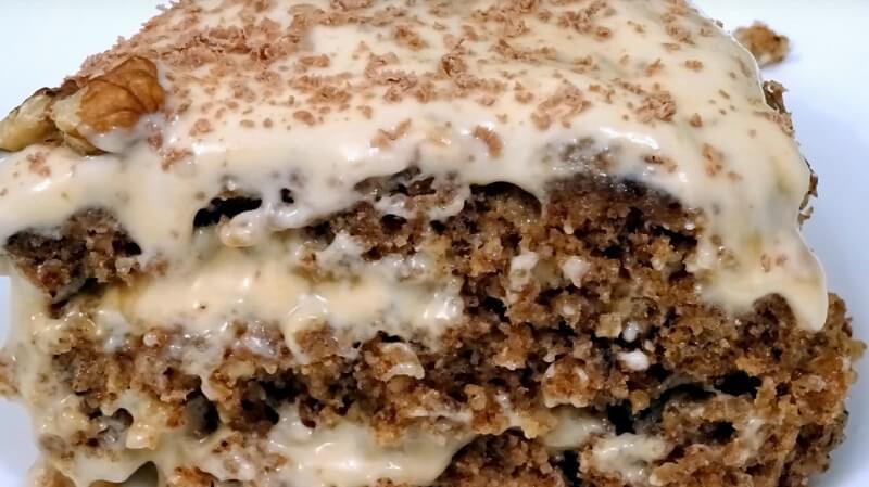 Ореховый торт без муки в микроволновке