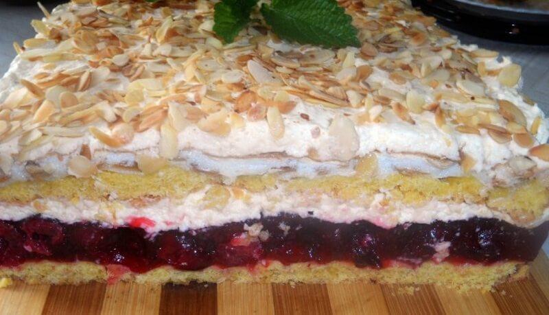 Песочный торт с желейной прослойкой