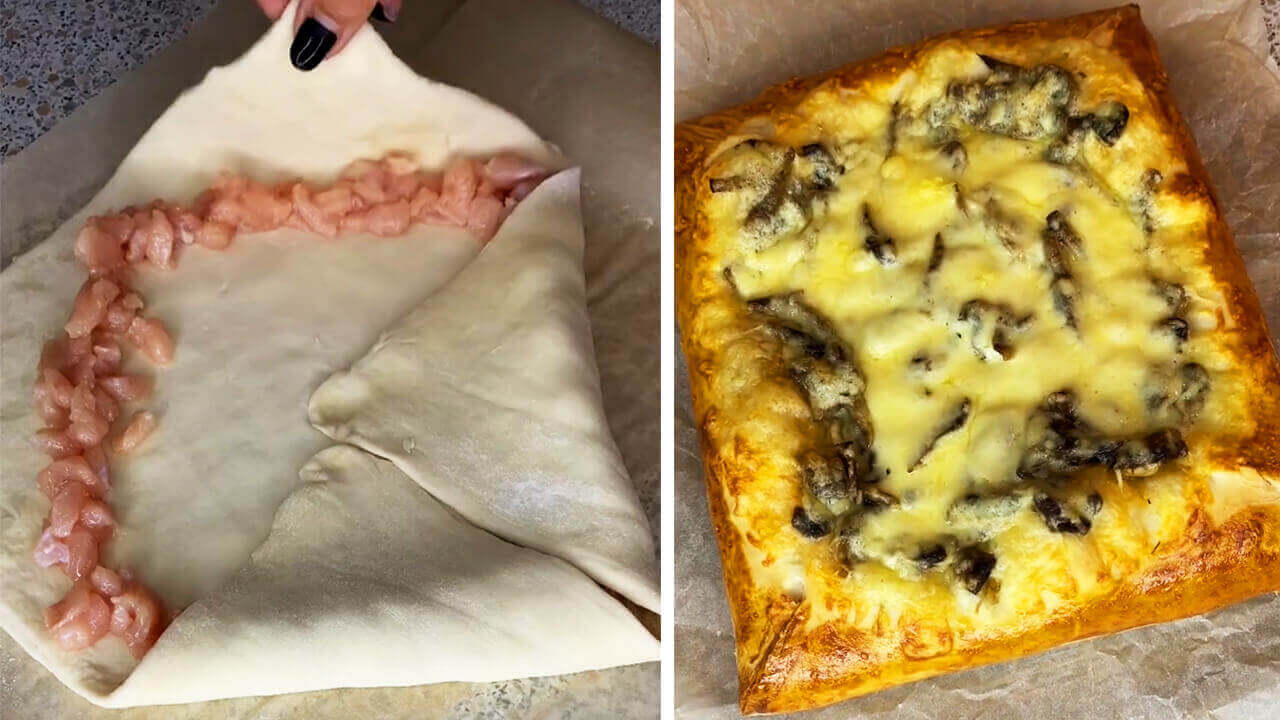 Пирог из готового слоёного теста с курицей, грибами и сыром