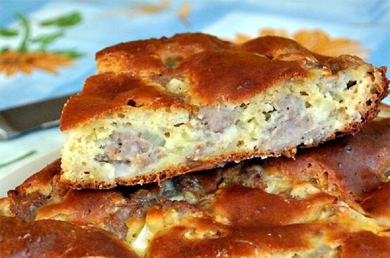 Рецепт быстрого пирога на кефире с фаршем