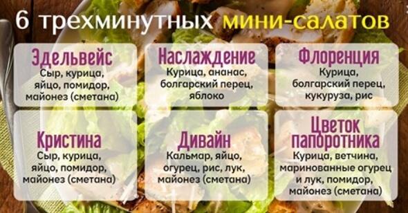 Подборка простых мини-салатов